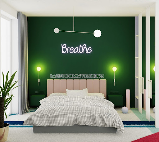 Sử dụng màu xanh lá và cây xanh hợp lý giúp tăng tính thẩm mỹ cũng như vượng khí trong nhà